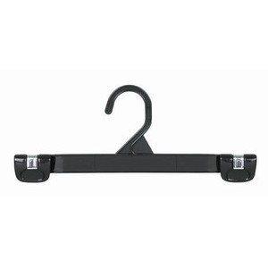 Plastic Gripper Hanger w/ Stationary Hook - Black