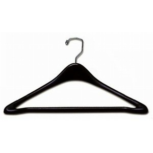 "19"" Deluxe Black Plastic Suit Hanger w/ Pants Bar"